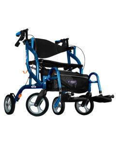 Pacific Blue Airgo Fusion F23 Tall Side-Folding Rollator & Transport Chair by Drive