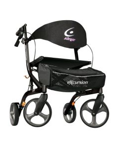 Pearl Black Airgo eXcursion X20 Lightweight Side-fold Rollator by Drive