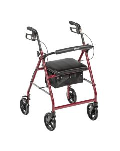 "Red Aluminum Rollator 7.5"" Casters by Drive"