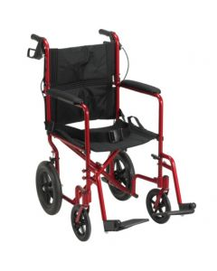 Expedition Aluminum Transport Chair with Loop Locks and 12in. Rear Flat Free Wheels