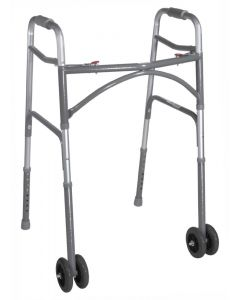 Bariatric Aluminum Folding Walker, Two Button, Two Wheel by Drive